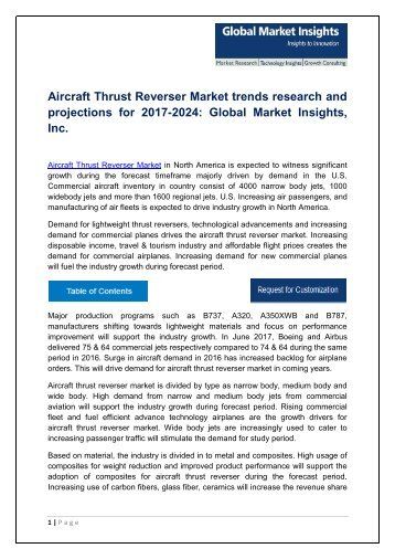 Aircraft Thrust Reverser Market share research by applications and regions for 2017-2024