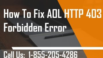 How To Fix AOL HTTP 403 Forbidden Error? 1-855-205-4286 For Assistance