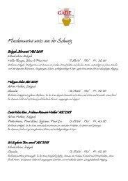 Flaschenweine weiss aus der Schweiz - Restaurant Gade