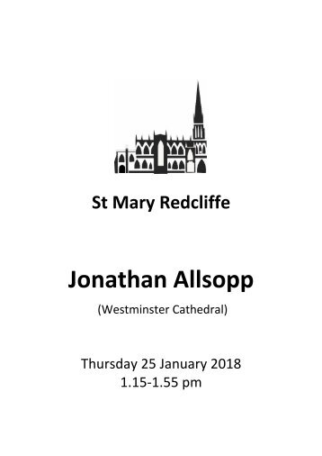 Organ Recital - Jonathan Allsopp, January 25 2018