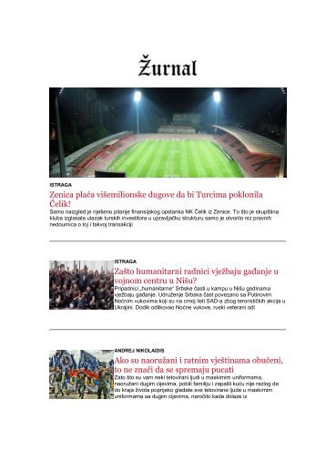 sedmicni newsletter Zurnala 9-15.1.
