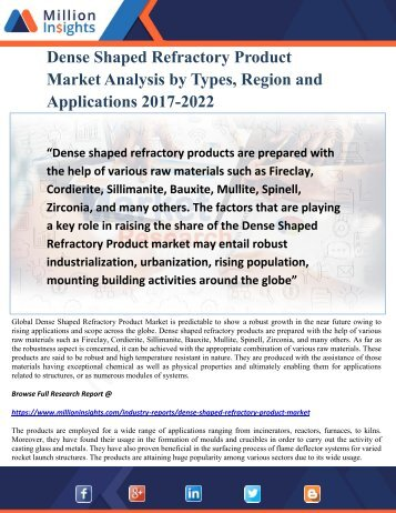 Dense Shaped Refractory Product Market Analysis by Types, Region and Applications 2017-2022