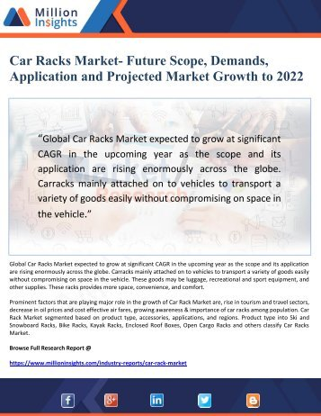 Car Racks Market- Future Scope, Demands, Application and Projected Market Growth to 2022