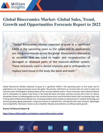 Global Bioceramics Market- Global Sales, Trend, Growth and Opportunities Forecasts Report to 2022