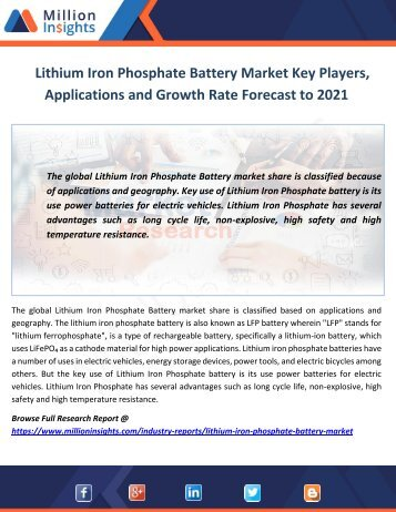 Lithium Iron Phosphate Battery Market Key Players, Applications and Growth Rate Forecast to 2021