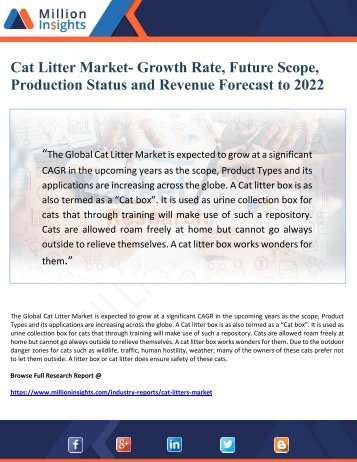 Cat Litter Market- Growth Rate, Future Scope, Production Status and Revenue Forecast to 2022