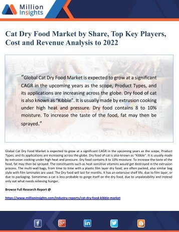Cat Dry Food Market by Share, Top Key Players,  Cost and Revenue Analysis to 2022