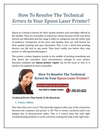 How To Resolve The Technical Errors In Your Epson Laser Printer
