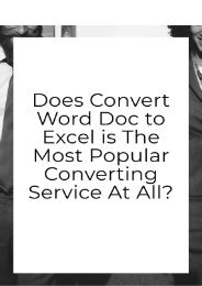 Does Convert Word Doc to Excel is the Most Popular Converting Service At All?