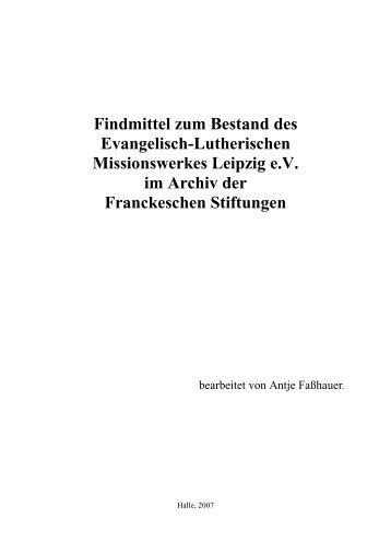 Findmittel zum Bestand des Evangelisch-Lutherischen ...