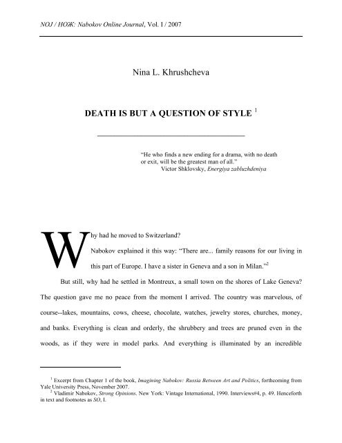 Nina L. Khrushcheva DEATH IS BUT A QUESTION OF STYLE 1