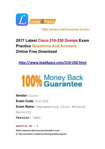 Lead4pass Latest Cisco 210-250 Dumps PDF Questions And Answers