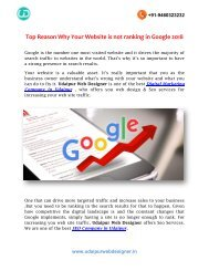 Top Reason Why Your Website is not ranking in Google 2018