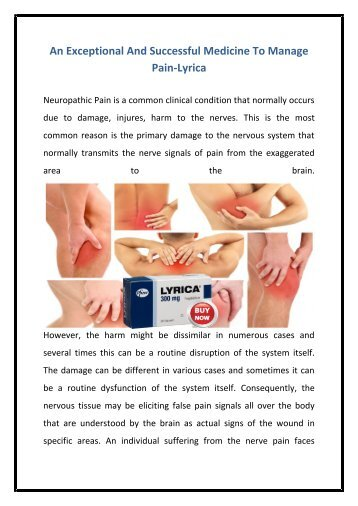 An Exceptional And Successful Medicine To Manage Pain-Lyrica