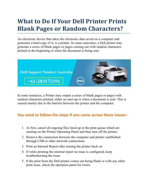 What to Do If Your Dell Printer Prints Blank Pages or Random