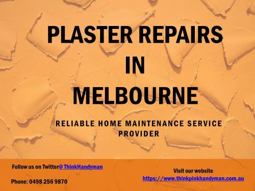 Plaster Repairs Melbourne - Think Pink Handyman