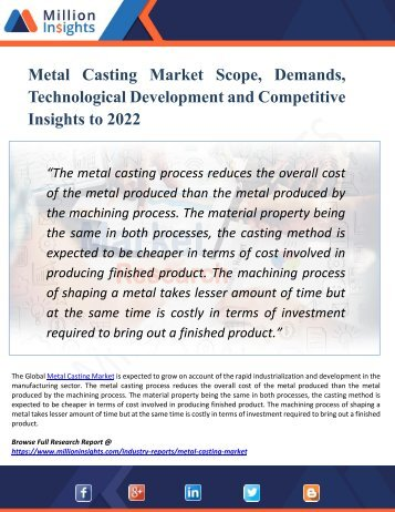 Metal Casting Market Segmentation and Analysis by Recent Trends, Development and Growth by Trending Regions by 2022
