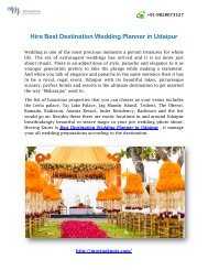 Hire Best Destination Wedding Planner in Udaipur