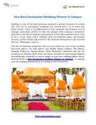 Hire Best Destination Wedding Planner in Udaipur