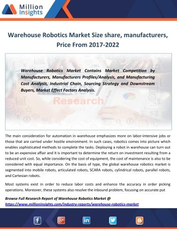 Warehouse Robotics Market Size share, manufacturers, Price From 2017-2022