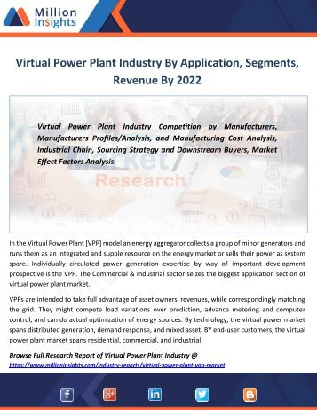 Virtual Power Plant Industry By Application, Segments, Revenue By 2022