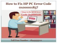 Dial 1(800)576-9647 | How to Fix HP PC Error Code 0x0000185