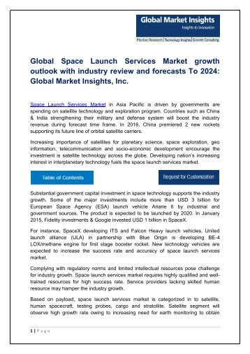 Space Launch Services Market By Technology, Application, Region – Forecast 2024