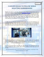 3 GOLDEN RULES TO FOLLOW WHILE SELECTING HAIRDRESSERS