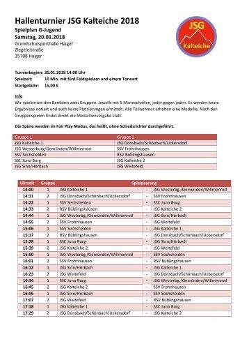 Spielplan 2018 G-Jugend Hallenturnier JSG Kalteiche