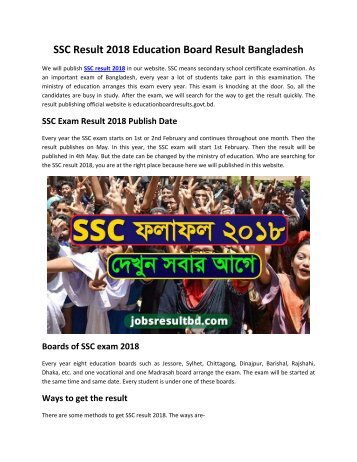 SSC Result 2018 Education Board Result Bangladesh