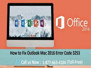 How to Fix Outlook Mac Error Code 3253? 1-877-663-4184 (toll-free)