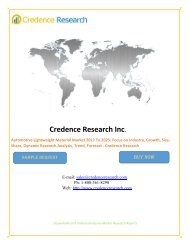 Automotive Lightweight Material Market 2017 To 2025 - Share, Analysis, Trends And Forecast By Credence Research