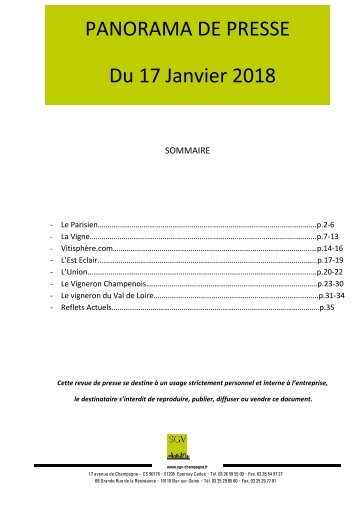 TEST_Panorama de presse quotidien du 17-01-2018