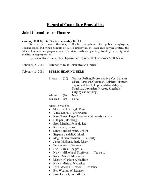 Record Of Committee Proceedings