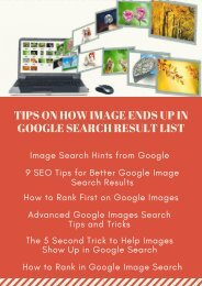 TIPS ON HOW IMAGE ENDS UP IN GOOGLE SEARCH RESULT LIST