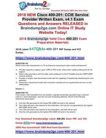 [2018-Jan-Version] New 400-201 PDF Dumps 647Q&As Free Share(Q152-Q162)
