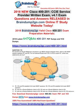 [2018-Jan-Version] New 400-201 VCE and PDF Dumps 647Q&As Free Share(Q119-Q129)