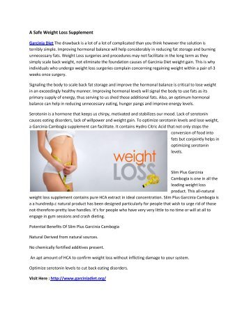 Garcinia Diet - Safe for Weight Loss