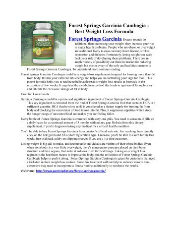 Forest Springs Garcinia - All New Way To Manage Ideal Weight