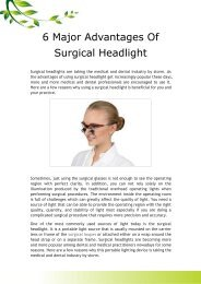 6 Major Advantages Of Surgical Headlight