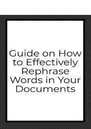 Guide on How to Effectively Rephrase Words in Your Documents