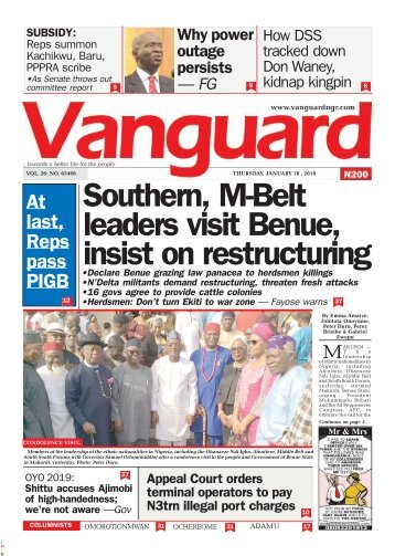 18012018 - Southern, M-Belt leaders visit Benue, insist on restructuring