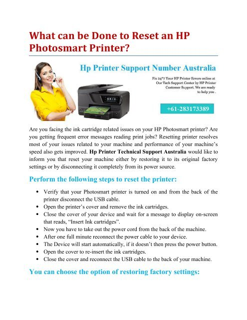 What can be Done to Reset an HP Photosmart Printer?