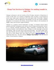 Cheap Taxi Services in Udaipur for making rounds