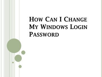 How Can I Change My Windows Login Password