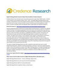Digital Pathology Market Assessment Report Now Available at Credence Research