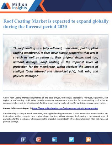 Roof Coating Market is expected to expand globally during the forecast period 2020