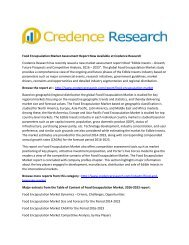 Food Encapsulation Market Assessment Report Now Available at Credence Research