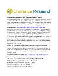 Optical Imaging Market Assessment Report Now Available at Credence Research