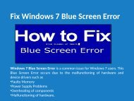 Fix Blue Screen Error in Windows 7 Call 1-888-909-0535 Support Number